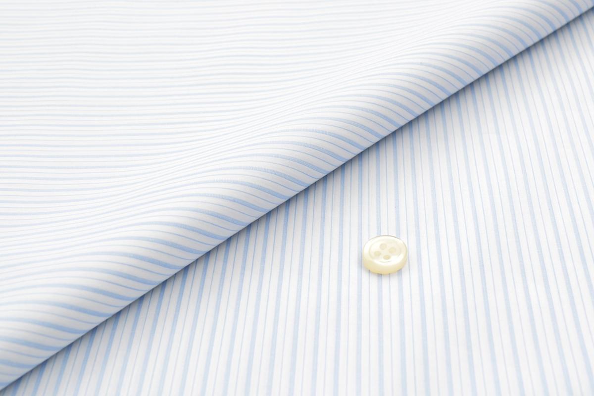 [オーダーシャツ]【CANCLINI】ビジネスにおススメ、爽やかライトブルーストライプ!