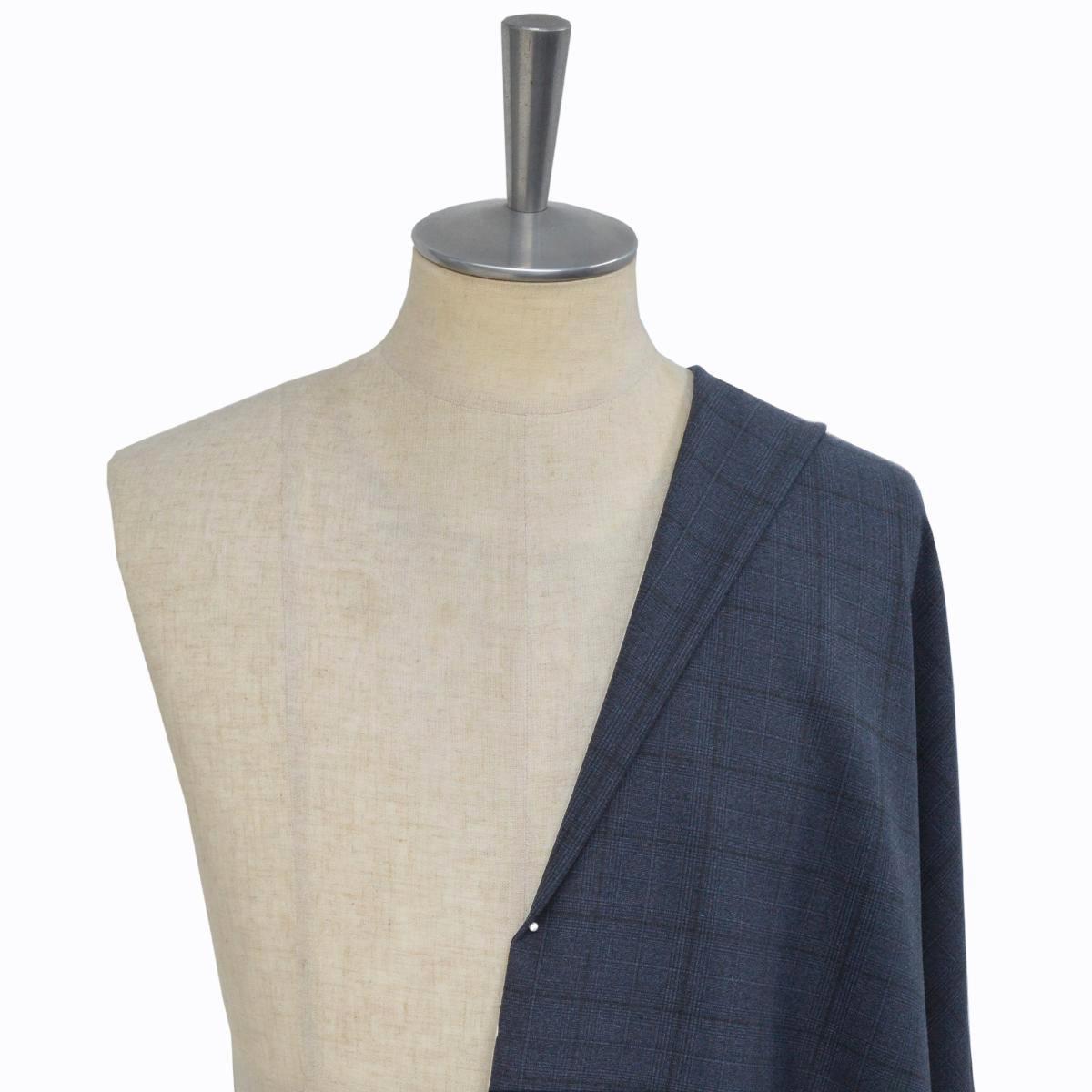 [オーダーレディーススーツ スカートセット]上品なネイビーチェック柄があなたの魅力を引き立てる!