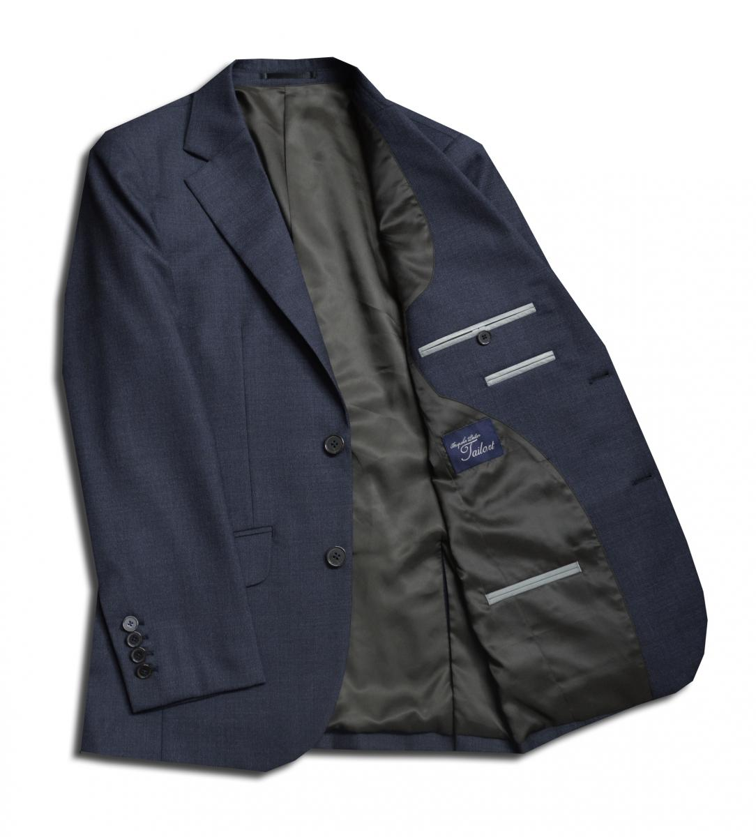 [オーダーレディーススーツ スカートセット]ソフトなハリが心地よいネイビースーツ