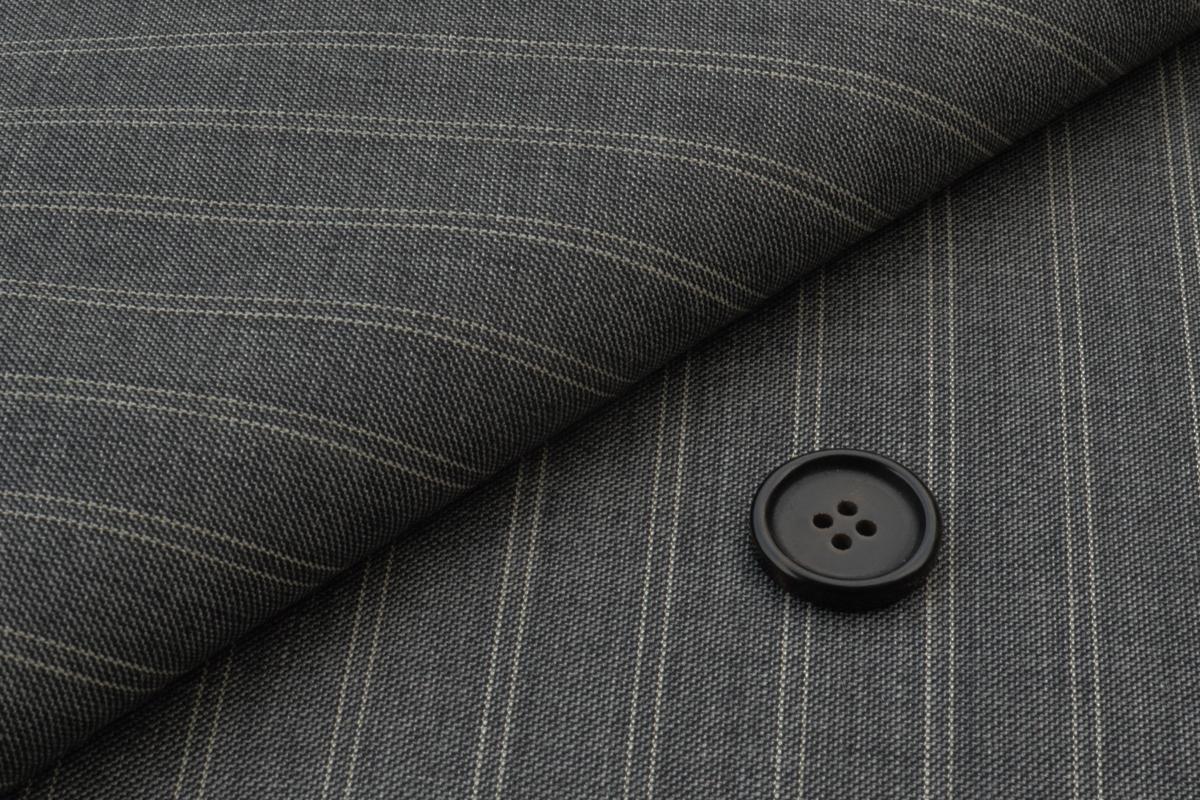 [オーダーレディーススーツ スカートセット]グレー×幅広ストライプで存在感が際立つ!