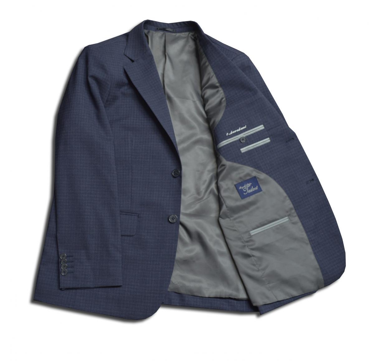 [オーダーレディーススーツ スカートセット]細かくて上品なチェック柄×定番のネイビーで落ち着いた雰囲気