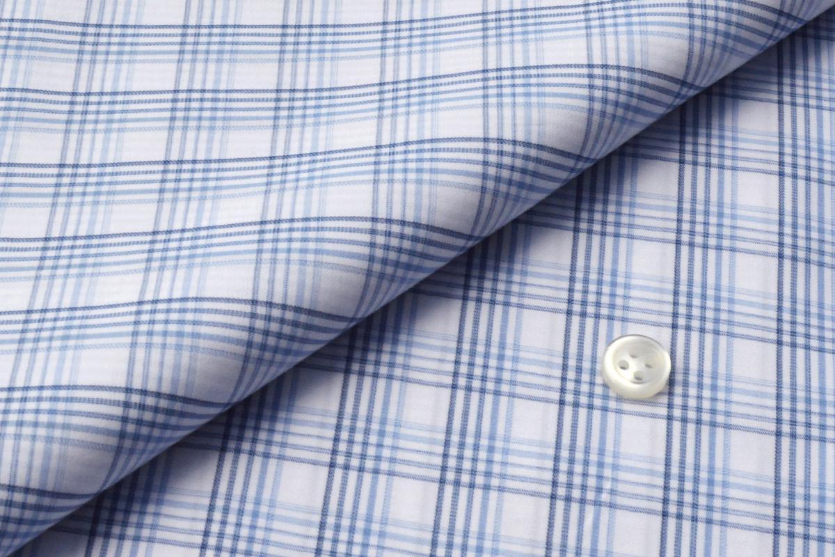 [オーダーシャツ]爽やかなブルーチェック、アクティブな印象が魅力的な一着!