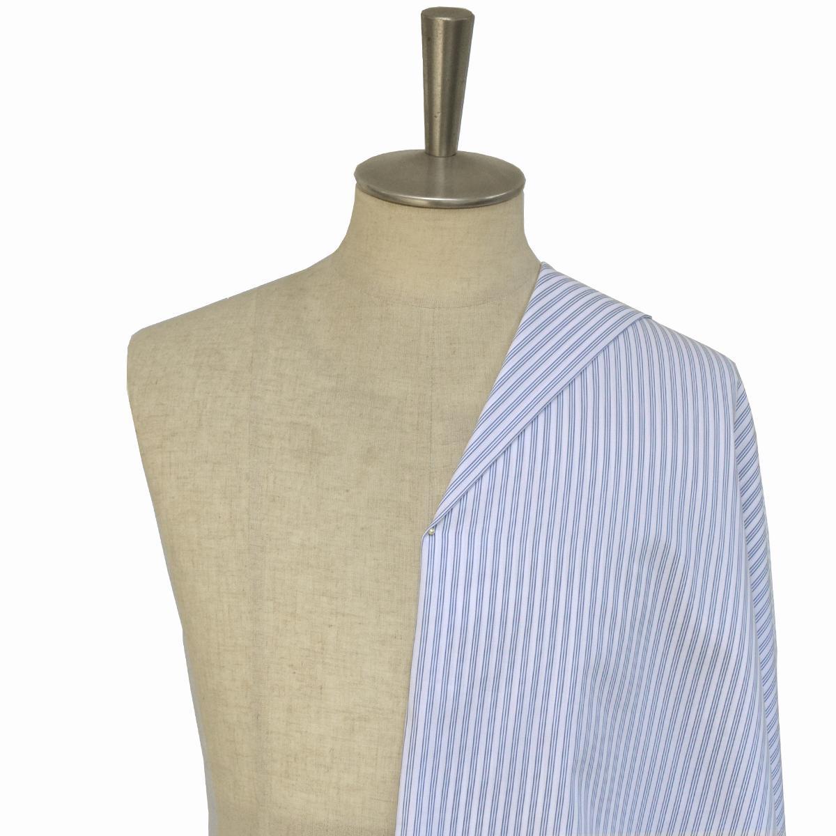 [オーダーシャツ]立体的に見えるブルーストライプがお洒落なアクセントに!