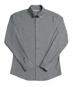 [オーダーシャツ]麻素材を感じさせるサラっとした肌ざわりが魅力のグレー