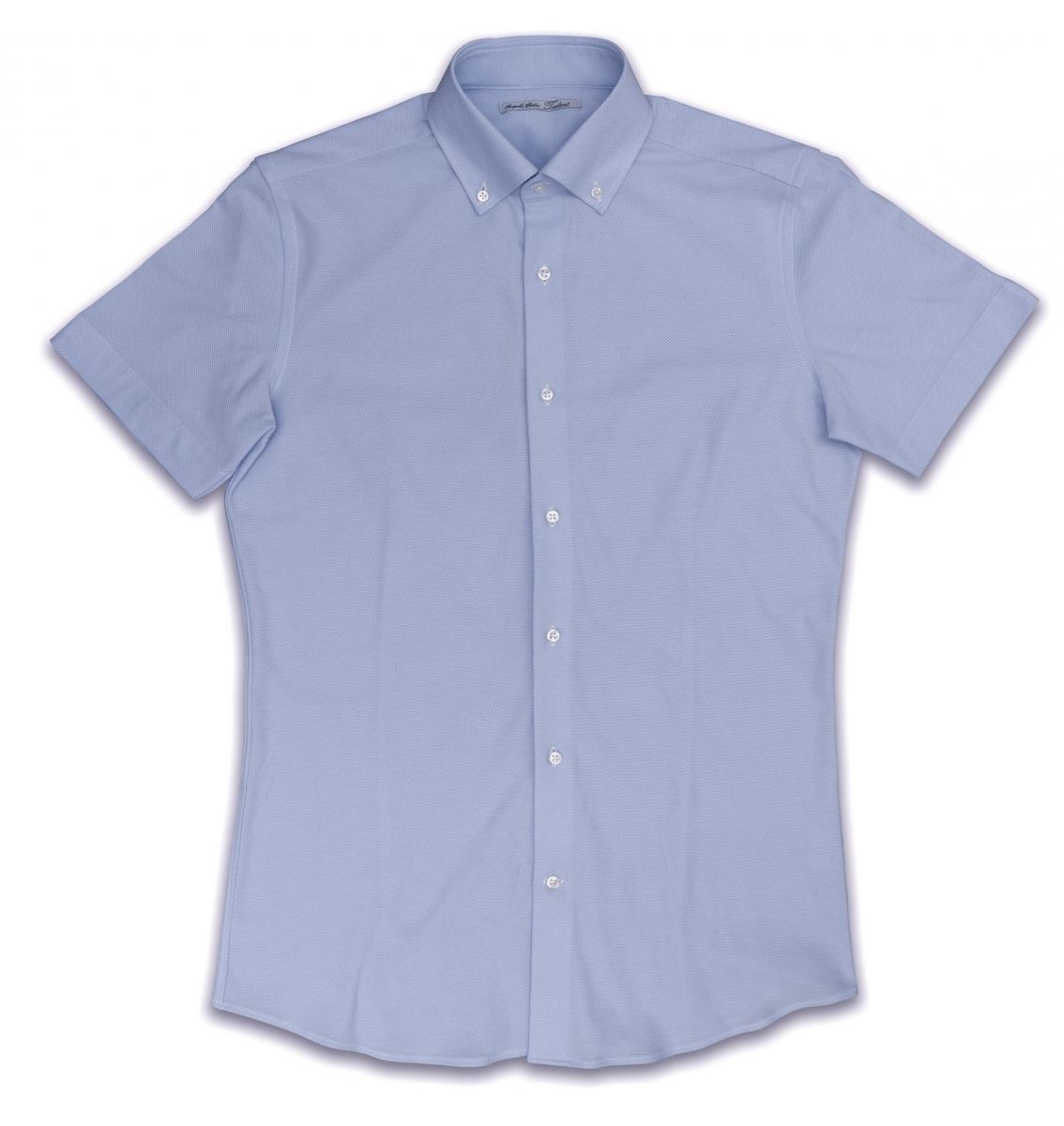 [オーダーシャツ]爽やかサックスブルーとニットの着心地の良さをセットで。