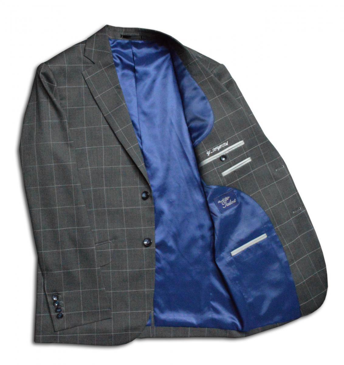 [オーダーレディーススーツ スカートセット]幅広チェックでお洒落を、好感度もアップ!