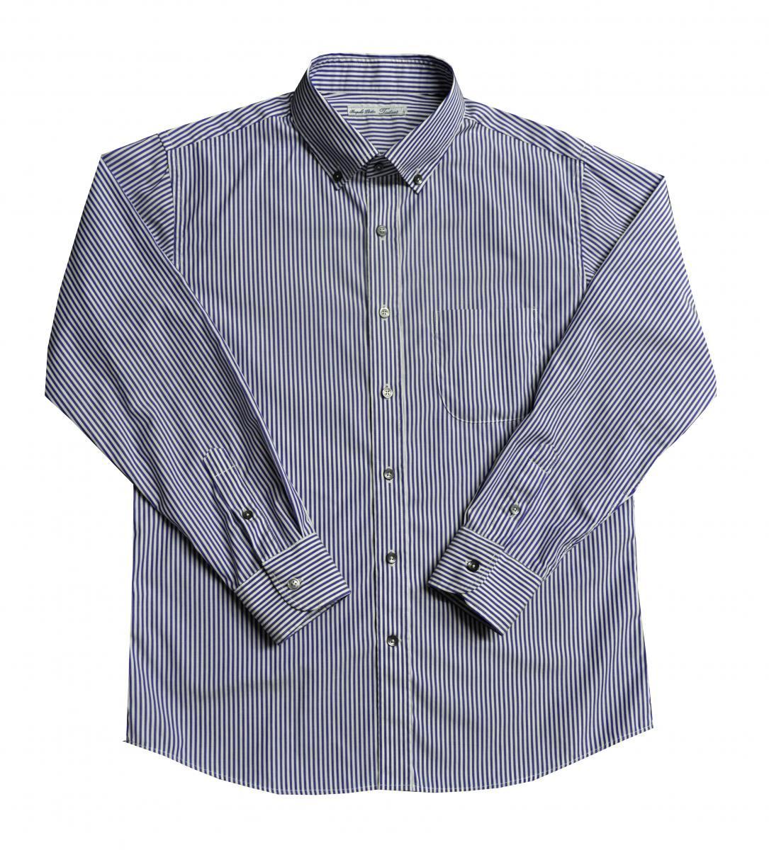 [オーダーシャツ]ネイビーストライプシャツで知的でお洒落な印象を。
