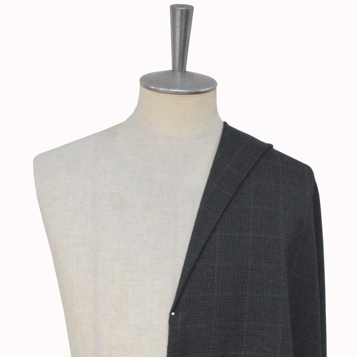 [オーダーレディーススーツ スカートセット]グレー×レッドのチェック柄で大人の魅力を
