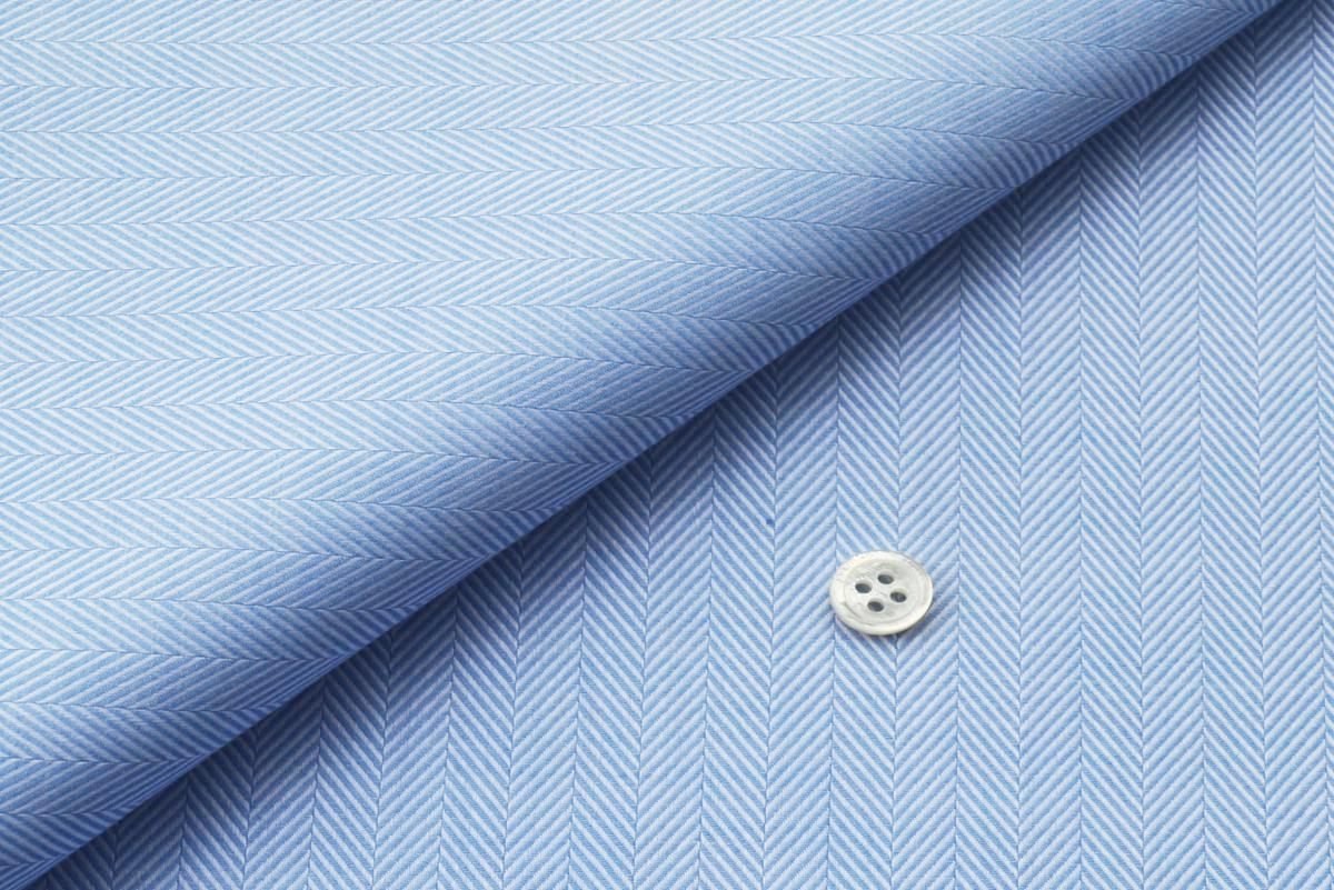 [オーダーシャツ]光沢のある定番のブルーのヘリンボーン生地